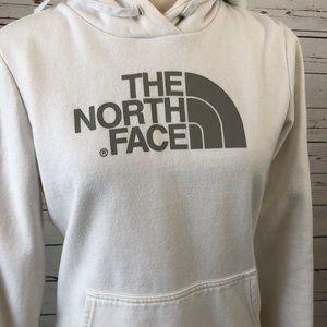 North Face White Hooded Sweatshirt Small Big Logo